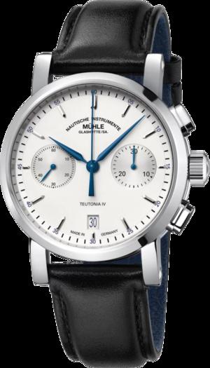 Herrenuhr Mühle Glashütte Teutonia IV Chronograph mit weißem Zifferblatt und Kalbsleder-Armband