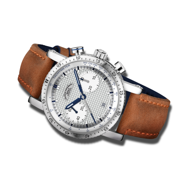 Herrenuhr Mühle Glashütte Teutonia Sport I (Clous de Paris) mit silberfarbenem Zifferblatt und Kalbsleder-Armband bei Brogle