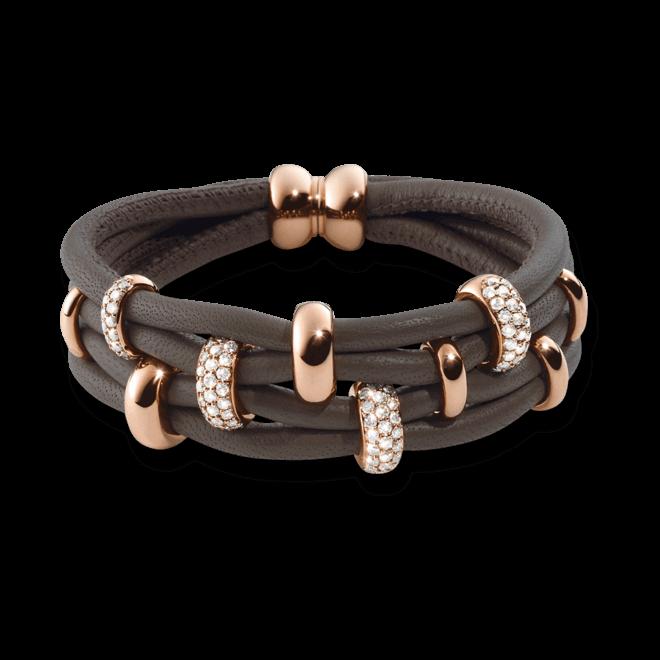 Armband noor Exclusive aus 750 Roségold und Nappaleder mit mehreren Brillanten (1,61 Karat)