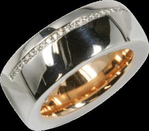 Ring noor Exclusive aus 750 Weißgold und Roségold mit 41 Brillanten (0,18 Karat)