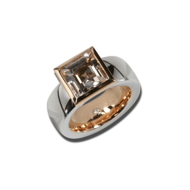 Ring noor Exclusive aus 750 Weißgold und Roségold mit 1 Amethyst