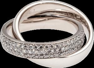 Ring noor Exclusive aus 750 Weißgold mit 144 Brillanten (1,7 Karat) Größe 58