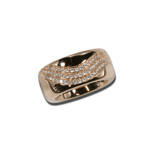 Ring noor Exclusive aus 750 Roségold mit 101 Brillanten (0,67 Karat)