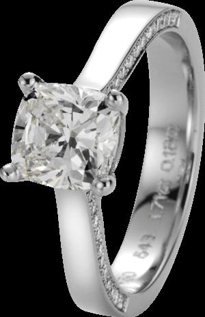 Solitairering noor Exclusive aus 750 Weißgold mit 45 Diamanten (1,89 Karat)