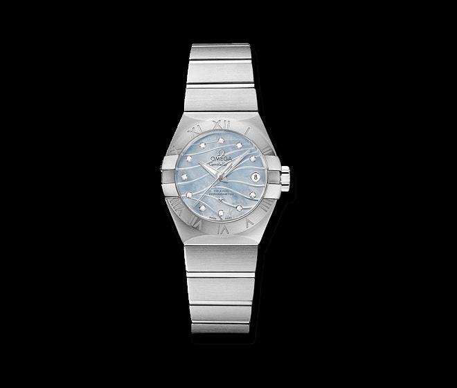 Damenuhr Omega Constellation Co-Axial 27mm mit Diamanten, blauem Zifferblatt und Edelstahlarmband