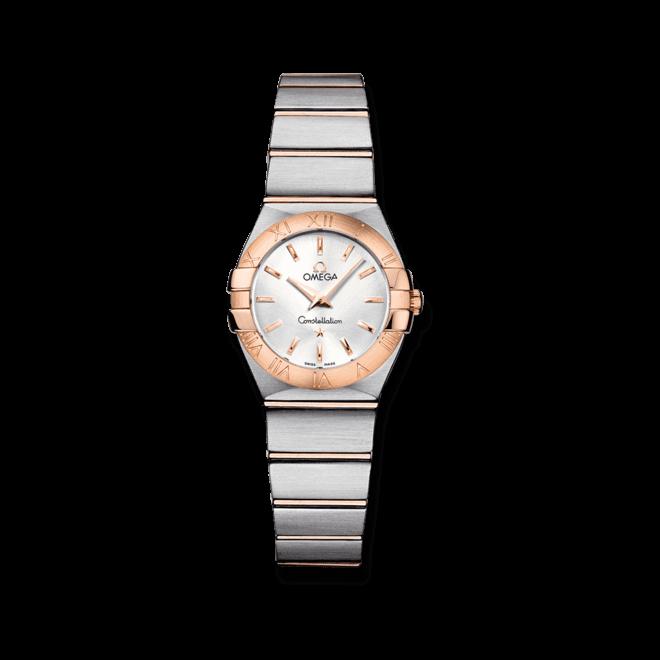 Damenuhr Omega Constellation Quartz 24mm mit Diamanten, silberfarbenem Zifferblatt und Edelstahlarmband