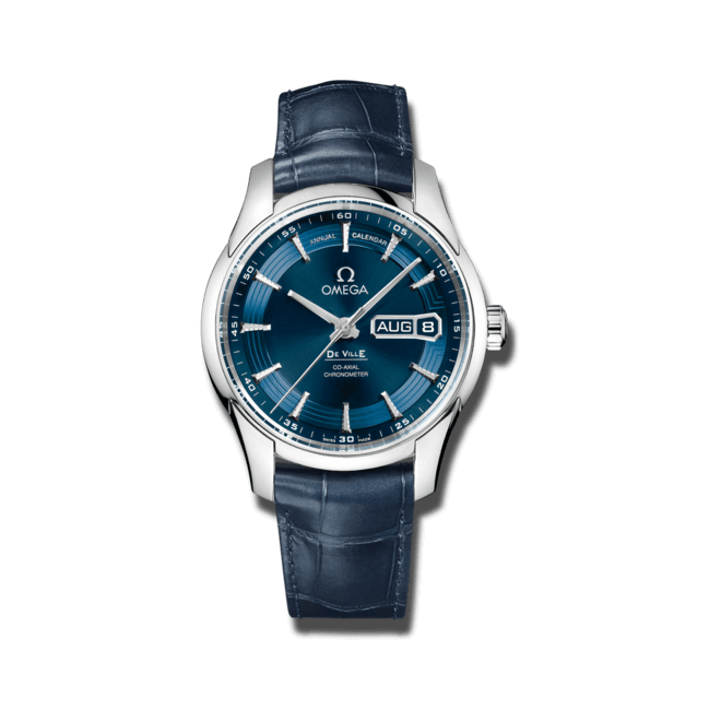 "Armbanduhr Omega De Ville Hour Vision Blue ""Orbis"" Co-Axial Annual Calendar 41mm mit blauem Zifferblatt und Kalbsleder-Armband"