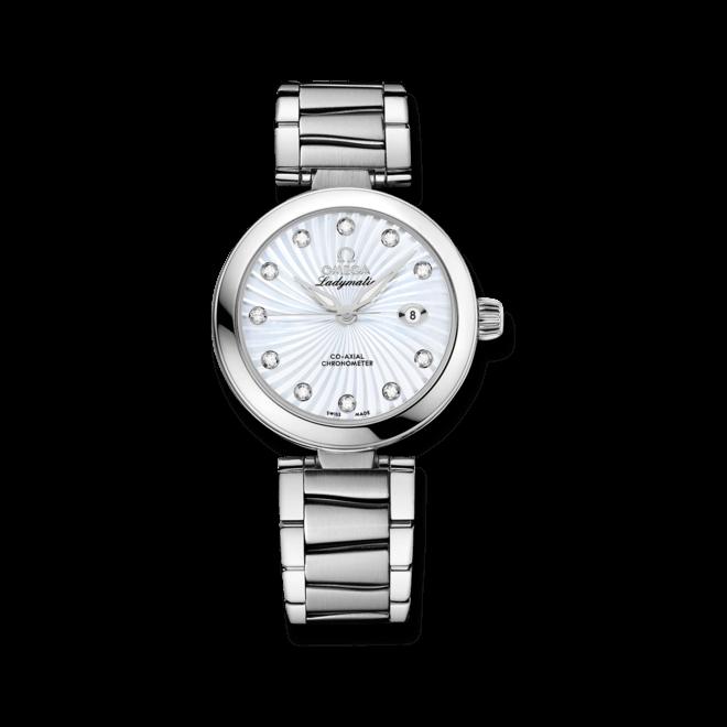 Damenuhr Omega De Ville Ladymatic Co-Axial 34mm mit Diamanten, perlmuttfarbenem Zifferblatt und Edelstahlarmband
