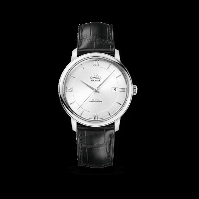 Herrenuhr Omega De Ville Prestige Co-Axial 39,5mm mit silberfarbenem Zifferblatt und Kalbsleder-Armband
