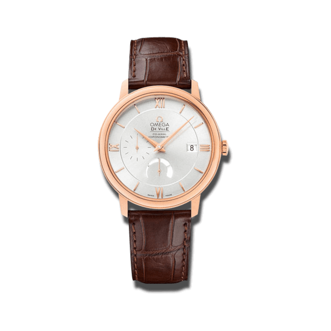 Herrenuhr Omega De Ville Prestige Co-Axial Power Reserve 39,5mm mit silberfarbenem Zifferblatt und Alligatorenleder-Armband