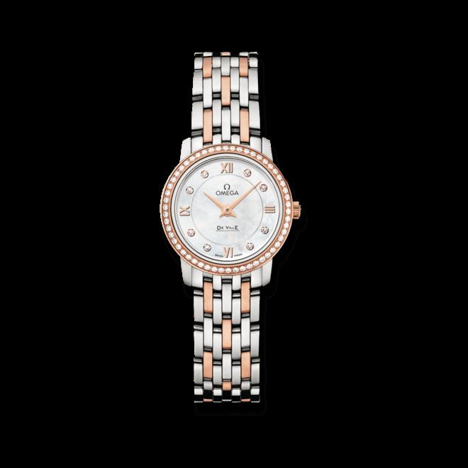 Damenuhr Omega De Ville Prestige Quartz 24,4mm mit Diamanten, weißem Zifferblatt und Edelstahlarmband