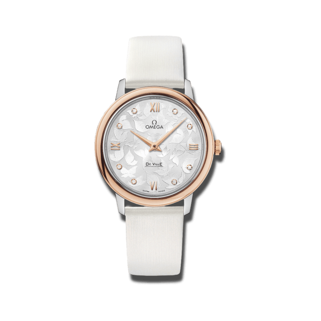 Damenuhr Omega De Ville Prestige Quartz 32,7mm mit Diamanten, silberfarbenem Zifferblatt und Kalbsleder-Armband