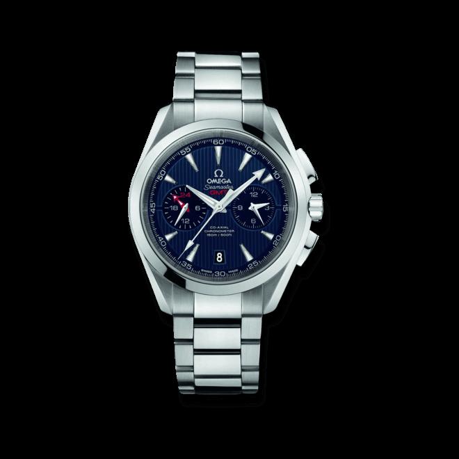 Herrenuhr Omega Seamaster Aqua Terra 150M Co-Axial GMT Chronograph 43mm mit blauem Zifferblatt und Edelstahlarmband