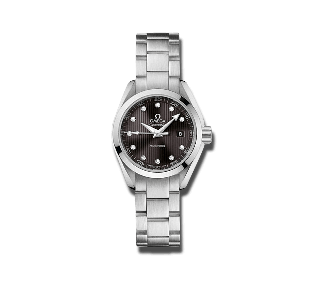 Damenuhr Omega Seamaster Aqua Terra 150M Quartz 30mm mit Diamanten, grauem Zifferblatt und Edelstahlarmband