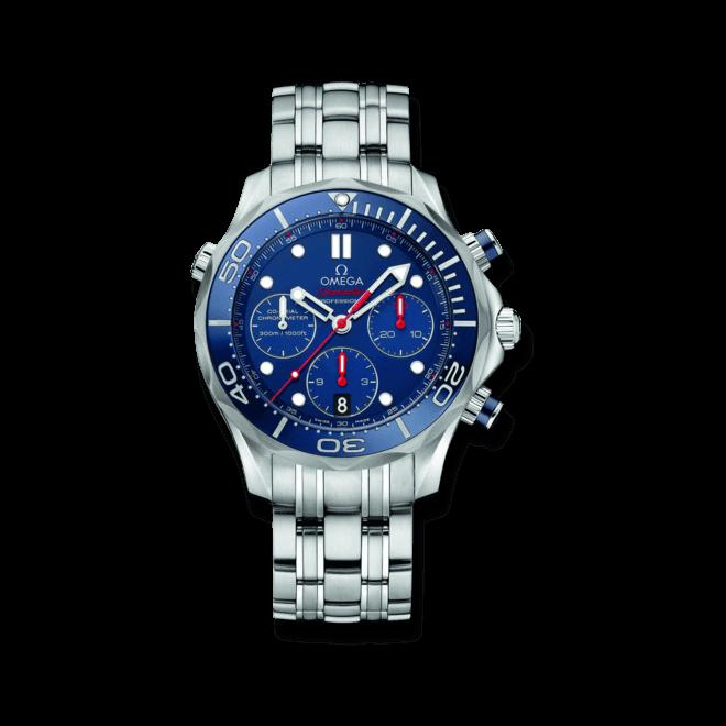 Herrenuhr Omega Seamaster Diver 300M Co-Axial Chronograph 41,5mm mit blauem Zifferblatt und Edelstahlarmband
