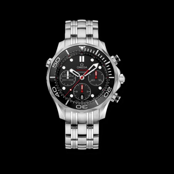 Herrenuhr Omega Seamaster Diver 300M Co-Axial Chronograph 44mm mit schwarzem Zifferblatt und Edelstahlarmband