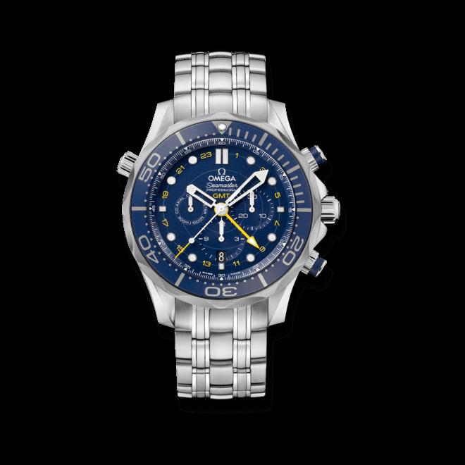 Herrenuhr Omega Seamaster Diver 300M Co-Axial GMT Chronograph 44mm mit blauem Zifferblatt und Edelstahlarmband