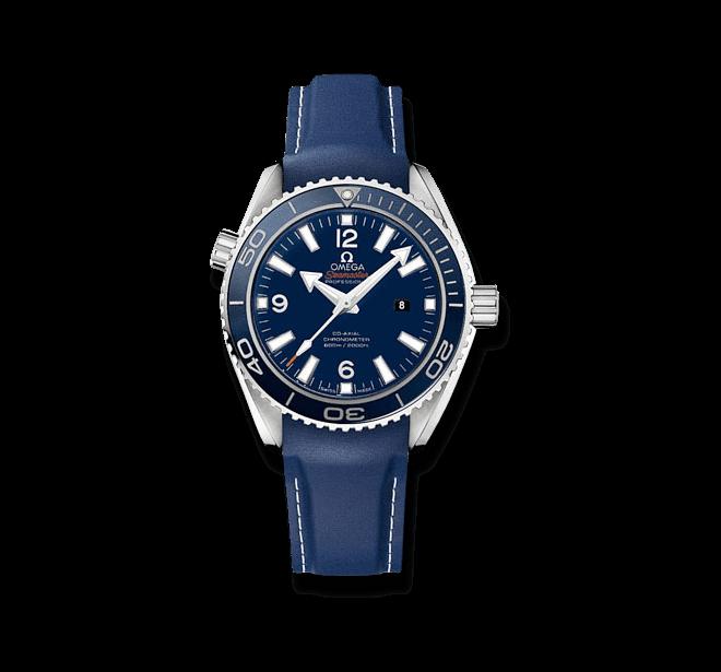Damenuhr Omega Seamaster Planet Ocean 600M Co-Axial 37,5mm mit blauem Zifferblatt und Kautschukarmband