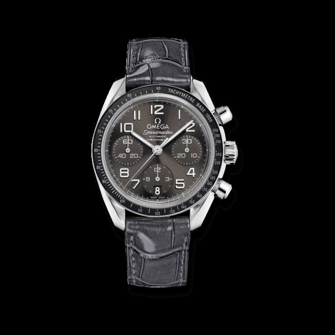Damenuhr Omega Speedmaster Chronograph 38mm mit grauem Zifferblatt und Krokodilleder-Armband