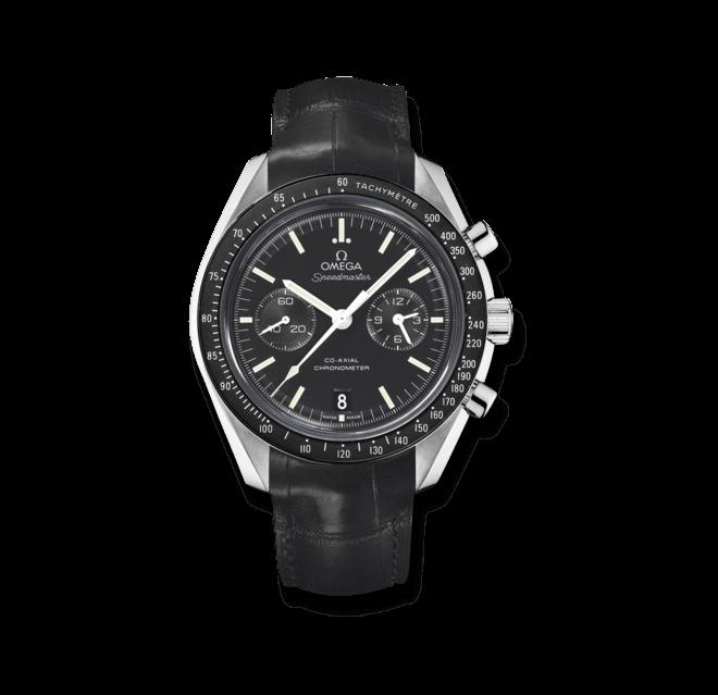 Herrenuhr Omega Speedmaster Moonwatch Co-Axial Chronograph 44,25mm mit schwarzem Zifferblatt und Krokodilleder-Armband