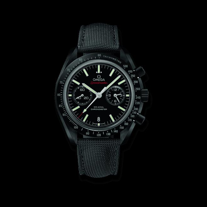 """Herrenuhr Omega Speedmaster Moonwatch Co-Axial Chronograph """"Dark Side of the Moon"""" mit schwarzem Zifferblatt und Textilarmband"""