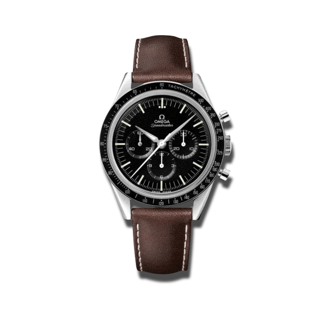 Herrenuhr Omega Speedmaster Moonwatch Numbered Edition 39,7mm mit schwarzem Zifferblatt und Kalbsleder-Armband