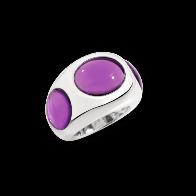 Ring Pomellato Bisanzio aus 925 Sterlingsilber mit 3 Amethysten