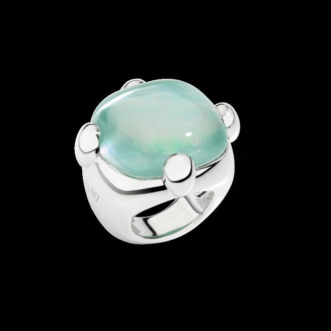 Ring Pomellato Spring aus 925 Sterlingsilber mit 1 Quarz, 1 Perlmutt und 1 Achat