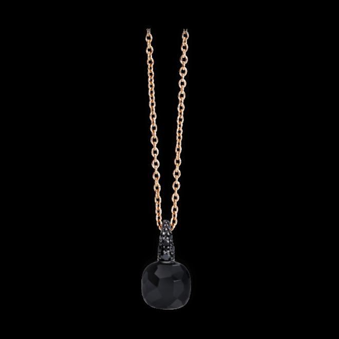 Halskette mit Anhänger Pomellato Capri aus 750 Roségold mit 1 Onyx und mehreren Brillanten (0,01 Karat)