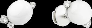 Ohrstecker Pomellato Capri aus 750 Weißgold mit 2 Keramiksteinen und 6 Diamanten (2 x 0,115 Karat)