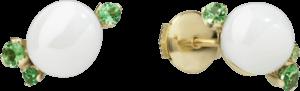 Ohrstecker Pomellato Capri aus 750 Roségold mit 2 Keramiksteinen und 6 Tsavolithen