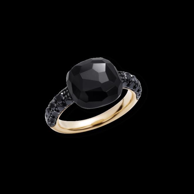 Ring Pomellato Capri aus 750 Roségold mit 1 Onyx und mehreren Brillanten (0,68 Karat)