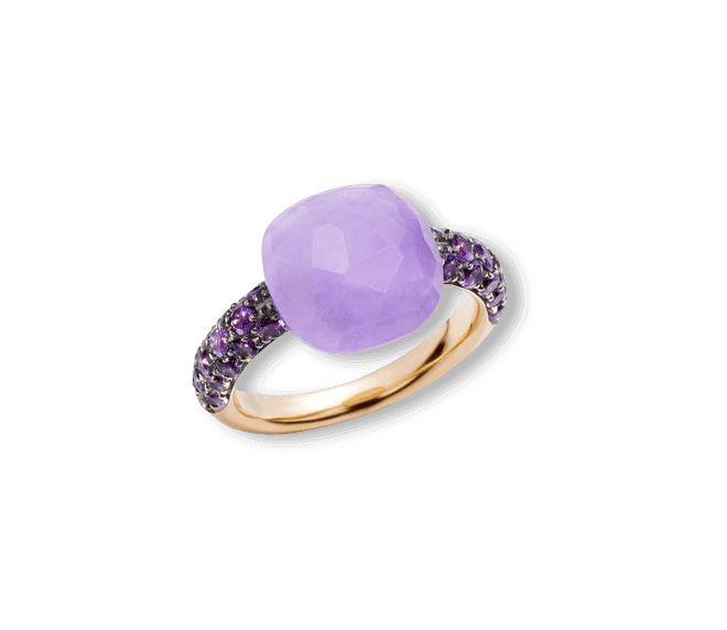 Ring Pomellato Capri aus 750 Roségold mit 1 Jadestein und mehreren Amethysten
