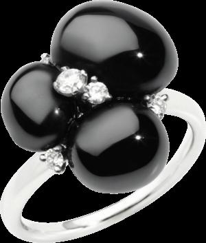 Ring Pomellato Capri aus 750 Weißgold mit 3 Keramiksteinen und 5 Brillanten (0,17 Karat)