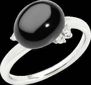 Ring Pomellato Capri aus 750 Weißgold mit 1 Keramikstein und 3 Diamanten (0,11 Karat)