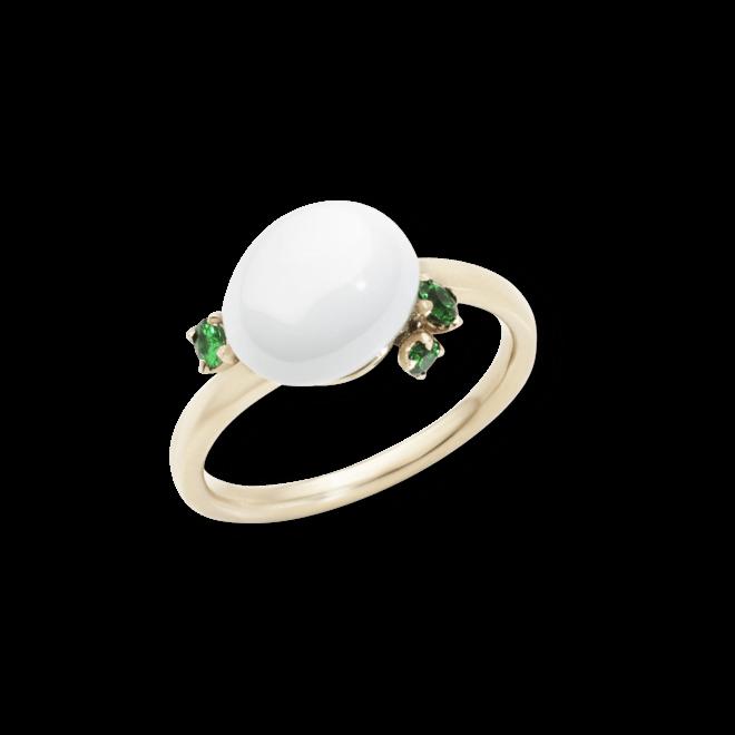 Ring Pomellato Capri aus 750 Roségold mit 1 Keramikstein und 3 Tsavolithen