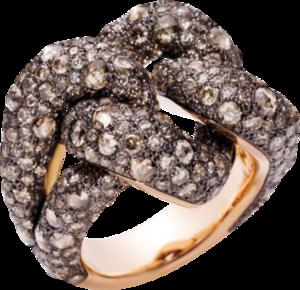 Ring Pomellato Catene aus 750 Roségold und 925 Sterlingsilber mit mehreren Diamanten (7,86 Karat)
