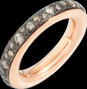 Ring Pomellato Iconica aus 750 Roségold und 750 Weißgold mit 38 Brillanten (1,06 Karat)