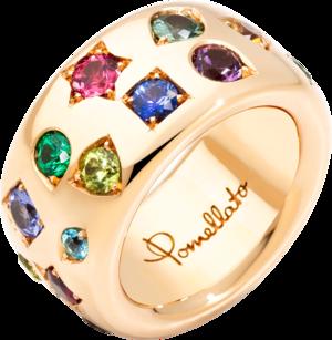 Ring Pomellato Iconica aus 750 Roségold mit Tsavolith und mehreren Edelsteinen