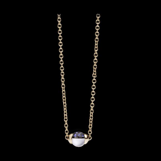 Halskette mit Anhänger Pomellato M'ama non M'ama aus 750 Roségold mit 1 Mondstein und mehreren Saphiren