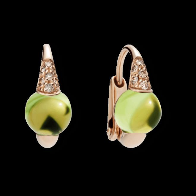 Ohrring Pomellato M´ama non M´ama aus 750 Roségold mit 2 Peridoten und mehreren Brillanten (2 x 0,05 Karat)
