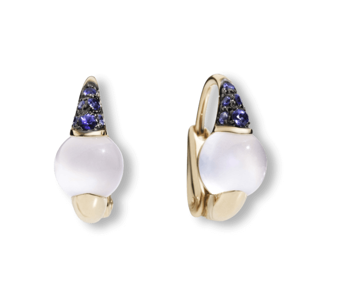 Ohrring Pomellato M´ama non M´ama aus 750 Roségold mit 2 Mondsteinen und mehreren Saphiren