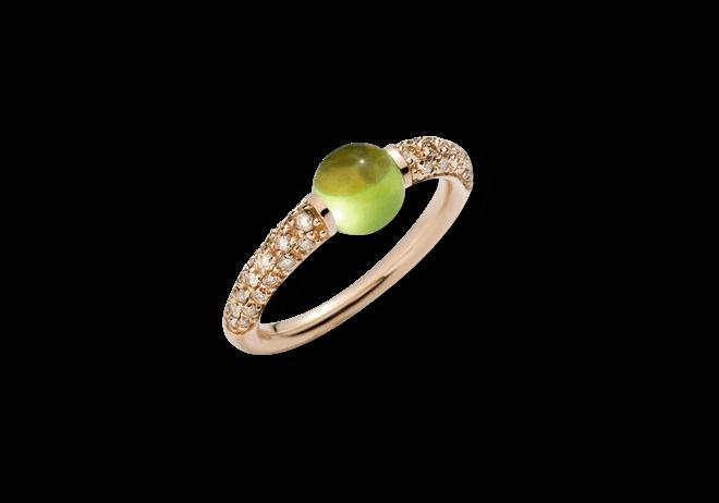 Ring Pomellato M´ama non M´ama aus 750 Roségold mit 1 Peridot und mehreren Brillanten (0,36 Karat)