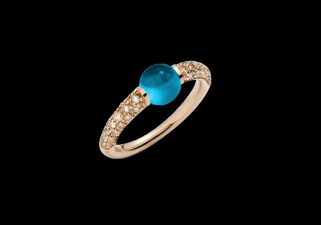 Ring Pomellato M´ama non M´ama aus 750 Roségold mit 1 Topas und mehreren Brillanten (0,36 Karat)