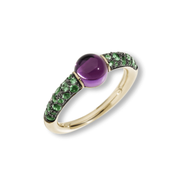 Ring Pomellato M´ama non M´ama aus 750 Roségold mit 1 Amethyst und mehreren Granaten