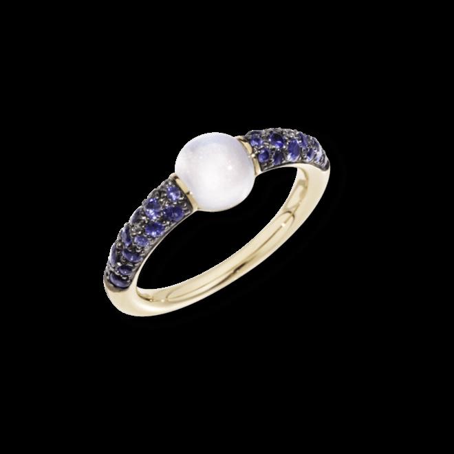 Ring Pomellato M´ama non M´ama aus 750 Roségold mit 1 Mondstein und mehreren Saphiren