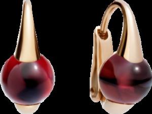 Ohrring Pomellato M'ama non M'ama aus 750 Roségold mit 2 Granaten