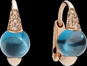 Ohrring Pomellato M'ama non M'ama aus 750 Roségold mit 2 Blautopasen und mehreren Brillanten (2 x 0,05 Karat)