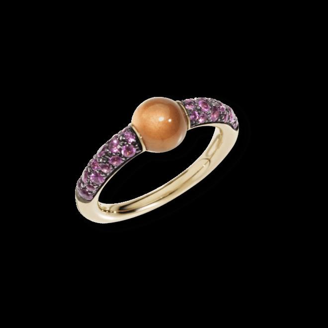 Ring Pomellato M'ama non M'ama aus 750 Roségold mit 1 Granat und mehreren Saphiren