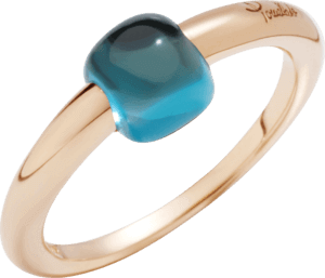 Ring Pomellato M'ama non M'ama aus 750 Roségold mit 1 Blautopas